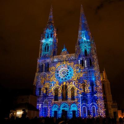 Chartres en lumieres portail royal arbre du savoir copyright spectaculaires les allumeurs d images photo m anglada